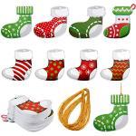 160 Etiquetas de Navidad Etiquetas Colgantes Coloridas de Recortes de Mezcla de Invierno Etiqueta de Señal de Regalos Impresas a Doble Cara con Agujeros y 1 Rollo de Cuerda Oro (Medias)