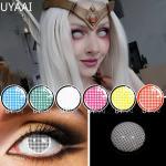 2 unids/par-lentes de contacto de malla para Cosplay, lentillas de colores para Cosplay de Anime,
