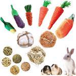 3 unids/set hámster conejo juguete morder moler juguete para dientes de maíz zanahoria tejido bolas