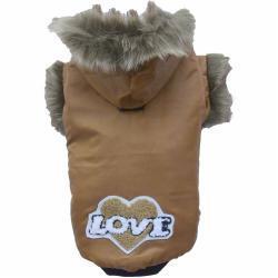 Anorak para perros con capucha tipo esquimal DoggyDolly, marrón dorado - talla XL
