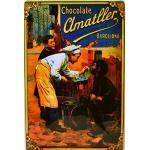 ART ESCUDELLERS Cartel Póster publicitario de Chapa metálica con diseño Retro Vintage de Catalunya/España. Tin Sign. 30 cm x 20 cm (Chocolates AMATLLER NIÑOS)