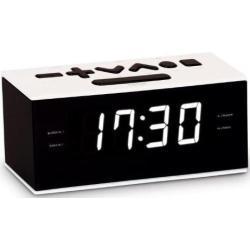 BigBen Interactive RR60 - Radio despertador (pantalla LED, AM/FM, 87.5-180 MHz, temporizador de apagado automático), blanco