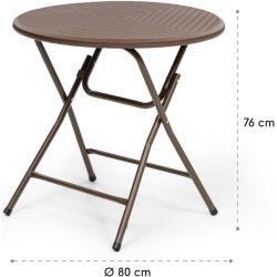 Burgos Tresillo Mesa + 2 sillas plegables Acero HDPE Aspecto de mimbre Blumfeldt