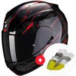 casco moto Integral Exo 390 Beat Black Neon Red + Pantalla
