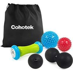 Cohotek 5 Piezas Bolas de Masaje Muscular- 2 x Bolas Masaje con Pinchas, 1 x Lacrosse Bola, 1 x Bola Doble, 1 x Rodillo de Masaje para Terapia Muscular- Ideal para Espalda, Piernas, Pies y Manos, etc