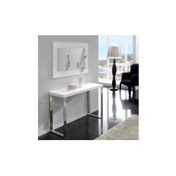 Consola minimalista blanco brillo acero con-02