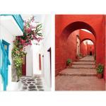 Cuadro de escalera en lienzo rojo de 80x60 cm. Compra mínima 2 unid