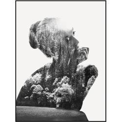 Cuadro de mujer de madera gris de 80x80 cm