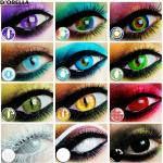 D 'orella-lentillas de colores para Halloween, 1 par (2 uds) de Cateye de amatista, lentillas de