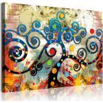 DekoArte 358 - Cuadros Modernos Impresión de Imagen Artística Digitalizada | Árbol de la Vida de Gustav Klimt Rojo | 1 Pieza 120x80cm