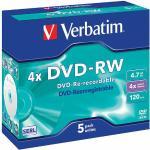 DVD-RW 4.7 GB 4x Matt Silver 5 uds en estuche individual - Verbatim