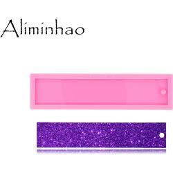 DY0527-Molde de resina brillante UV, moldes de silicona líquida, marcapáginas rectangulares, para