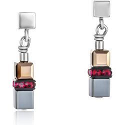 Earrings GeoCUBE® small Haematite & Swarovski® Crystals red