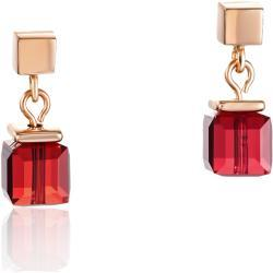 Earrings GeoCUBE® Swarovski® Crystals & stainless steel rose gold red
