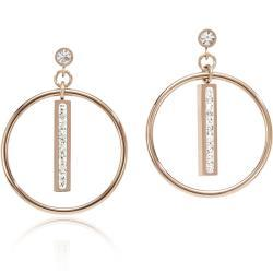 Earrings Stainless Steel rose gold Ring & Crystals pavé strip crystal