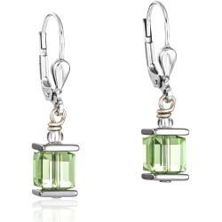 Earrings Swarovski® Crystals GeoCUBE® peridot