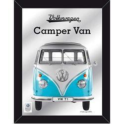 Empire Merchandising 671806 Volkswagen, Escarabajo, Bulli, Camper Van Azules, Espejo con decoración y Marco imitación Madera, tamaño 30 x 40 cm
