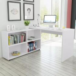 Escritorio de esquina 4 estantes blanco Vida XL
