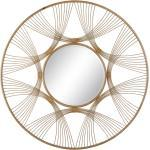 Espejo de diseño blanco y natural de metal de Ø 92 cm