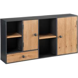 Estantería de pared de madera y metal negra y natural industrial de 50x20x100 cm
