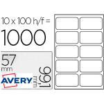 Etiqueta Adhesiva Avery Blanca Tarjeta De Visita Tamaño 99,1x57 Mm Inkjet Laser Copiadora 1000 Unidades