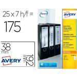 Etiqueta Adhesiva Avery Permanente Blanca 38x192 Mm Para Lomo Archivador Laser Caja De 175 Unidades