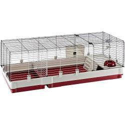 Ferplast Jaula para Conejos KROLIK 140, Conejillos de Indias, pequeños Animales, en Kit de Montaje, extensión Separable Mediante una Rejilla metálica, Accesorios incluidos, 142 x 60 x h 50 cm Burdeos