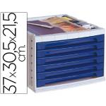 Fichero cajones de sobremesa q-connect 370x305x215 mm bandeja organizadora superior 6 cajones azul opaco