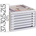 Fichero cajones de sobremesa q-connect 37x30,5x21,5 cm bandeja organizadora superior 6 cajones gris opaco