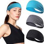 Fitness Headbands - Banda elástica deportiva para el sudor, 3 unidades, unisex, banda antideslizante para correr, senderismo, yoga, tenis
