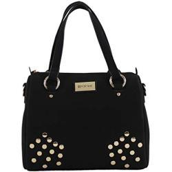 For Time, Bolso grande tipo bowling Ante para Mujer, Negro, 27x23x17 cm