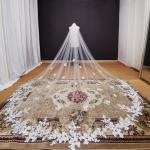 Fotos reales, velo de novia largo con apliques de encaje, blanco marfil, catedral, velo de novia de
