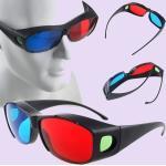 Gafas 3D Con montura negra, cristales rojos y azules para juegos de DVD, películas y TV,