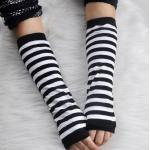 Guantes largos sin dedos a rayas de manga larga para mujer, elásticos, Sexy, calentador de muñeca