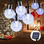 Guirnalda Luces Exterior Solar, 100LED 10m Cadena de Luces bolas led decorativas, IP65 Impermeable 8 Modos Luces Solares Jardin,Guirnaldas Luminosas para Interior, Fiesta de Navidad (Blanco frio)