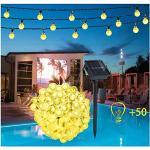 Guirnalda Luces Exterior Solar - 50 LED 9.5M Cadena de Bola Cristal Luz, Guirnalda Solar LED Bola de Cristal Luces impermeables Decoracion Solar Bola para Navidad Terraza Hogar Jardín Bodas Fiesta