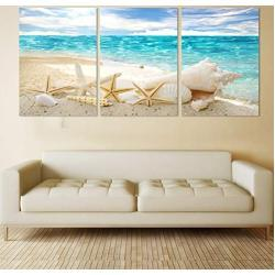 GYSS 3 Paneles Cavans Wall Art Vacation Sunshine Sandy Beach Shell Starfish Landscape Pictures Poster Art