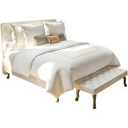 Heckett & Lane Yellow Adaliz - Juego de Cama (percal, Reversible, 135 x 200 cm y 80 x 80 cm), Color Blanco y Dorado