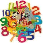Hess Holzspielzeug 30011 - Reloj de pared de madera para niños, serie animales de la selva, con mecanismo de cuarzo, hecho a mano, indicador de la hora de colores para la habitación de los niños