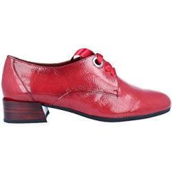 HISPANITAS HI99215, Zapatos acordonados de Tacon Medio, para Mujer, Color Charol Rojo. - Cuero Talla: 39