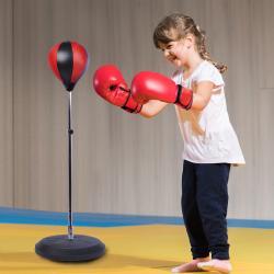 HOMCOM Bola de Boxeo de Pie Punching Ball Ajustable en Altura con Base Rellenable de Arena o Agua Incluye Guantes Φ43x125-145 cm Negro y Rojo