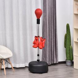 HOMCOM Saco de Boxeo de Pie con Altura Ajustable y Base Rellenable Pera de Boxeo con Soporte y Guantes para Adultos y Adolescentes Ф48x136-154 cm Rojo