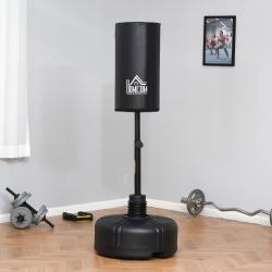 HOMCOM Saco de Boxeo de Pie con Soporte Ajustable en Altura de 3 Niveles y Base Rellenable de Arena 45 kg o Agua 30 kg Acero para Hogar Gimnasio Ø68x150-170 cm Negro