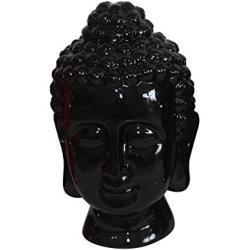 HOMEA 5dej1342nr Estatua Dibujo Cabeza de Buda cerámica Negro 20x 20x 31cm