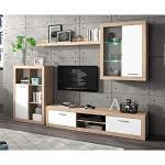 Homely - Mueble de salón Modular Formentera Color Roble y Blanco de 270 cm