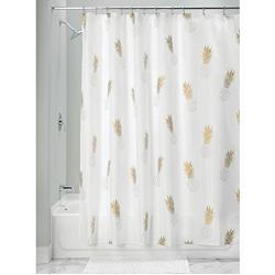 InterDesign Novelty Poly Cortinas de baño modernas con estampado de piñas, cortinas de ducha de poliéster de 183 x 183 cm, dorado y blanco