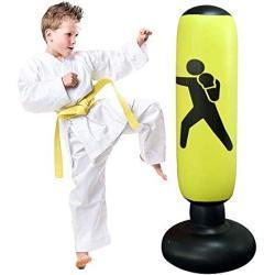 JanTeelGO Saco de Boxeo, Boxeo Inflable autoportante Aptitud Objetivo Bolso del Soporte de la Torre, MMA perforación Kick Formación Tumbler Bop Bolsa para aliviar la presión (Amarillo-C)