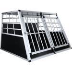 Jaula para perros 95 86 69 cm jaula de doble puerta grande transporte de animales Jaula de aluminio en el coche - Negro