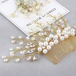 Jovono - Peine para novia con diamantes de imitación y cuentas para mujeres y niñas