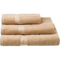 Juego de 3 toallas de baño cámel de algodón natural